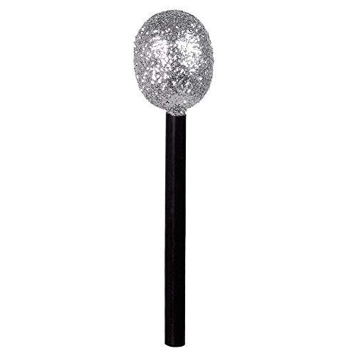 Boland 00609 - Mikrofon, 1 Stück, Länge 25 cm, schwarz-silber mit Glitzer, Party, Accessoire, Playback, Sänger, Plastik, Instrument, Rockstar, Sänger, Photobox, Geburtstagsfeier, Karneval