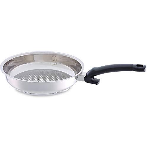 Fissler crispy steelux comfort / Edelstahl-Pfanne (Ø 24 cm) unbeschichtete-Steakpfanne, Bratpfanne, Stielpfanne, ideal zum krossen anbraten - Induktion