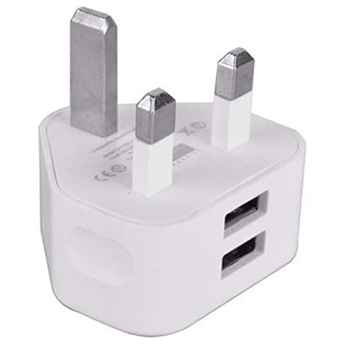 Nrpfell Universal Usb Uk Plug 3 Pin Wall Charger Adapter With Usb Ports Travel Charger Charging For Phone Ipad(2 Port)