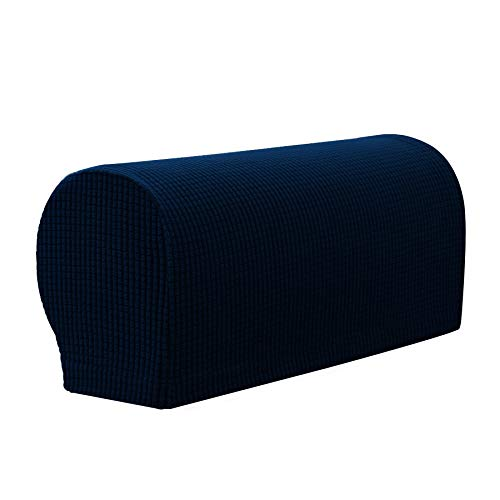 Subrtex Spandex Arm Covers for Armchairs Sofa Arm Rest Covers Pair of Arm Caps Furniture Protector (Navy)