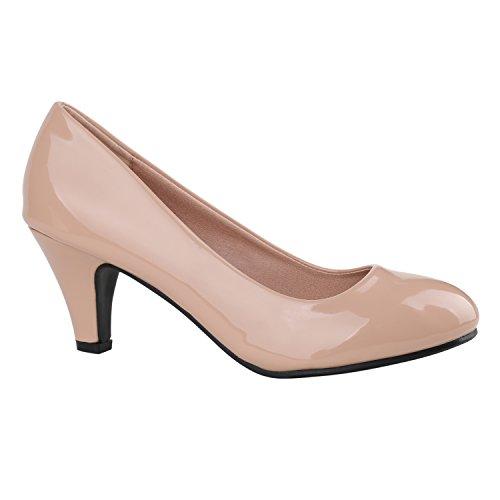Klassische Damen Pumps Stilettos Abend Leder-Optik Glitzer Metallic Lack Schleifen Tanz Braut Schuhe 137799 Rosa Lack 41 Flandell