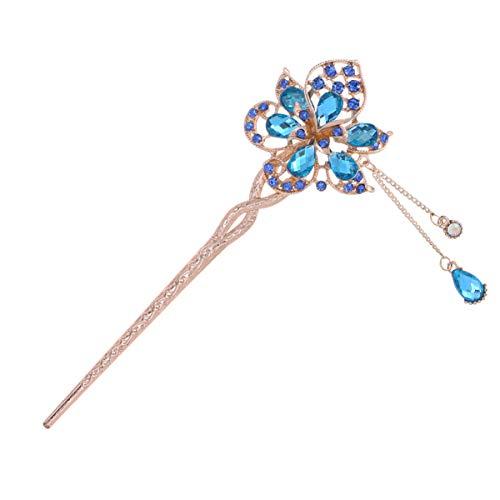 Beaupretty Metall Haarstäbchen Kristall Chinesisch Japanisch Haarschmuck Vintage Retro Haar Essstäbchen Haarnadeln Picks Kopfschmuck Kopfbedeckung (Zufällige Farbe)