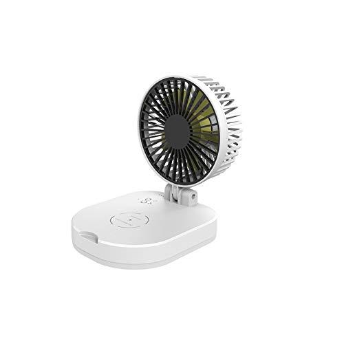 TTAototech Mini ventilador USB plegable multifunción, cargador inalámbrico, 3 velocidades de viento ajustables,