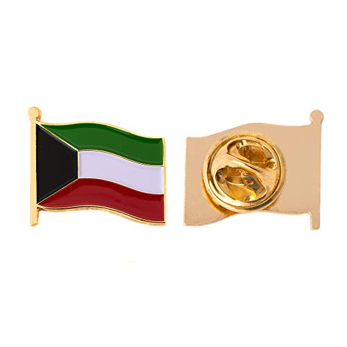 Kuwait Land Flagge Anstecknadel Emaille aus Metall Souvenir Hat Herren Frauen Patriotische Kuwait (Waving Flag Revers PIN)