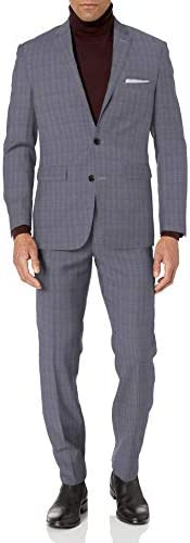 Vince Camuto Men s Two Button Slim Fit Glen Plaid Suit Grey 44 Regular product image
