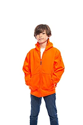 Trailcrest Kid's Safety Blaze Orange/Camo Double Fleece Full Zip Hoodie, Orange, Large
