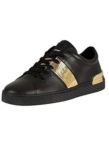 Ed Hardy Herren Niedrige Sneakers aus Metallic-Leder mit Streifen, Schwarz, 45 EU