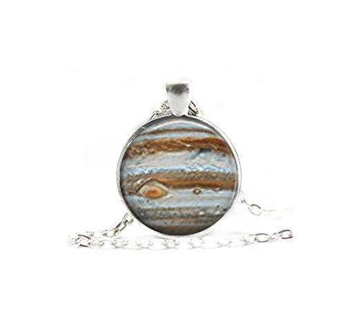 Elf House Jupiter Halskette, Galaxie-Schmuck, Planetarium-Halskette, Planetarium-Halskette, Kuppel-Glas-Schmuck, reine Handarbeit
