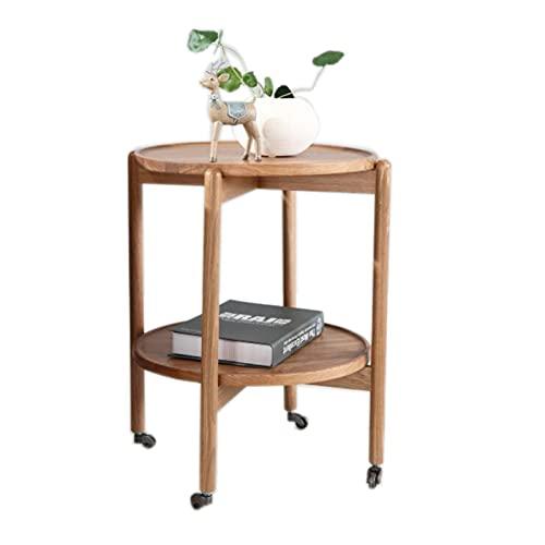 JCNFA MESAS Mesa de centro moderna de madera maciza,Mesa auxiliar de roble blanco, doble capa,Fácil de montar ,Mesa auxiliar de sofá Para sala de estar, do(Size:17.91*17.91*19.68in,Color:color madera)