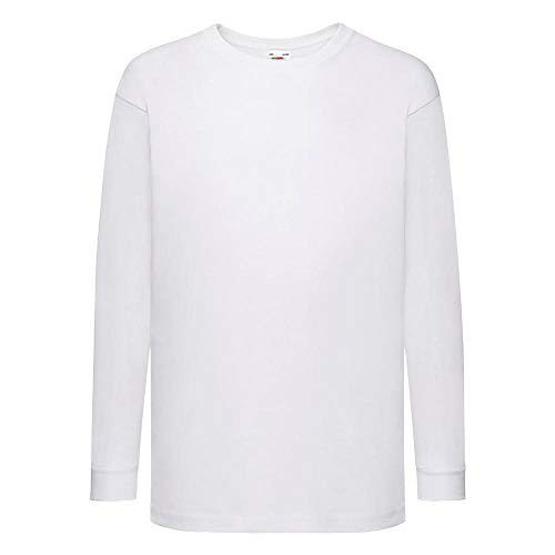 Fruit of the Loom - Kids Langarm T-Shirt Value Weight T 164,White