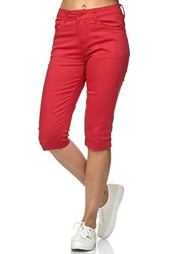 Damen Capri Jeans 3/4 Stretch Bermuda Shorts Big Size Hose, Farben:Rot, Größe:40