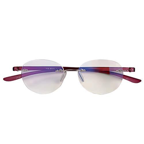 人気のふちなしタイプ フレームレスがお洒落な老眼鏡 ボスリントン ブルーライト35%カット[PrePiar](パープル,+2.5)