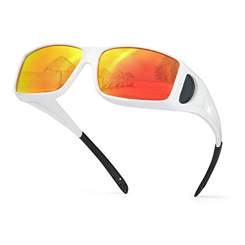 IGnaef Mirrored Wrap Around Sunglasses, HD Polarized to Wear as Fit over Prescription Glasses for Driving (White/Red)