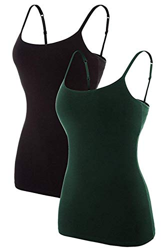 ATTRACO Camisole Women with Shelf Bra Layering Cami Tank Tops Black Green Large