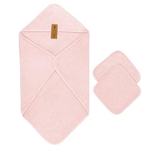 Capa de Baño de Bebé, 100% Algodón orgánico, (90x90 cm) y 2 Toallas (30x30 cm), Rosa