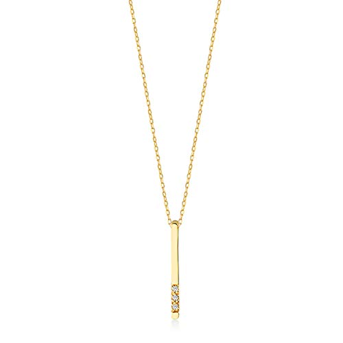Gelin 14k Solid Gold 0,01 ct Genuine Diamond Vertical Bar Pendant Chain Necklace for Women, 18' - Minimalist Jewelry for Women