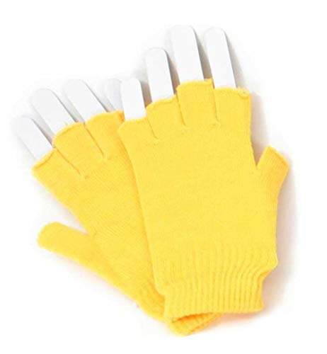 KarnevalsTeufel Strickhandschuhe Einheitsgröße für Erwachsene fingerlos Winter Accessoire ohne Finger (Gelb)