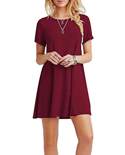 FALARY Vestidos Mujer Casual Camiseta Suelto Cuello Redondo Ocasional Sólida Mini