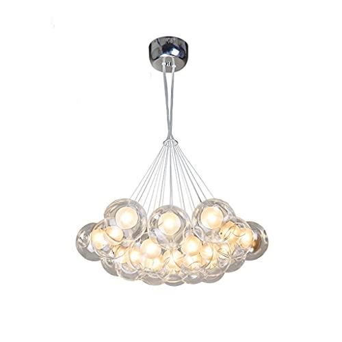 LHLJ Lámpara de araña de Bola de Burbujas de Vidrio de Colores Personalidad cálida Habitación de los niños Lámpara de Dormitorio Sala de Estar Creativa Lámpara de Comedor Lámpara de araña 19 Cabezas