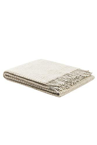 LANEROSSI Wooldecke Braies S, 130x170 cm, ideal als plaid oder Kuscheldecke für Sofa, beige