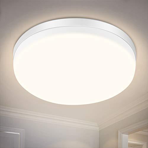 Plafonnier LED, SOLMORE 24W Plafonnier LED IP54 Lampe de salle de bain étanche IP54, blanc neutre 4000K, lumière 2200LM convient très bien pour salle de bain, chambre, balcon, cuisine et salon
