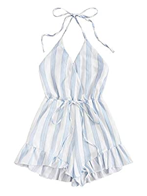 SweatyRocks Women's Sexy Halter V Neck Backless Striped Print Short Romper Jumpsuit White Blue Large