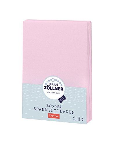 Julius Zöllner 8300113310 - Spannbetttuch Frottee für Kinderbett, Größe: 60x120 cm / 70x140 cm, Farbe: rosa