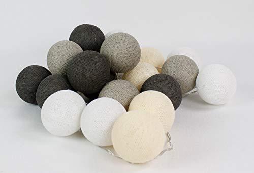 Cotton Ball Lights Taube 50 LED Lichterkette mit USB Anschluss, Baumwolle, weiß - eierschale - hell braun - braun
