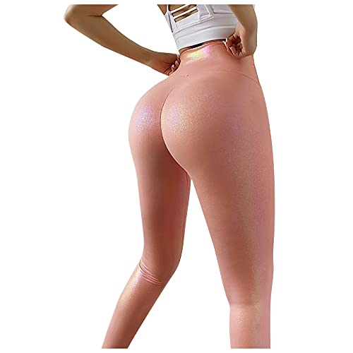 Mujeres Leggins de Yoga de Color Sólido Nacarado Pantalones Deportivos Push up de Cintura Alta Leggings Transpirables Elásticos Pantalón de Deporte Casual Mallas Fitness para Correr Training y Gym