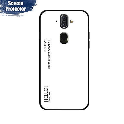 MadBee Cover per Nokia 8 Sirocco [con Pellicola Proteggi Schermo],Custodia Protettiva in Vetro Temperato 9H [Motivo in Marmo] + Cornice Paraurti in Silicone Morbido Cover Case (Bianco)