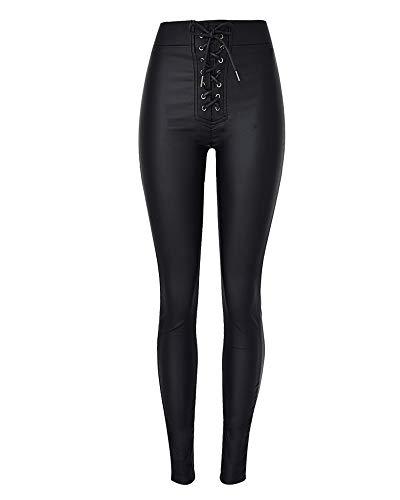 XSMG Dames Kleding Hoge Taille Slim Fit Elastische Force Metalen Opening Bandage Elastische Taille Coating PU Imitatie leer Jeans Broek