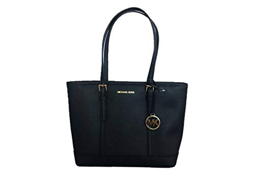 "Saffiano leather with gold-tone hardware. Zip-top closure. Polished logo lettering hardware at front and logo medallion hangtag. Adjustable shoulder straps with 9.5"" drop. Interior: Logo lining; one zip pocket and two multifunction slip pockets. Appr..."