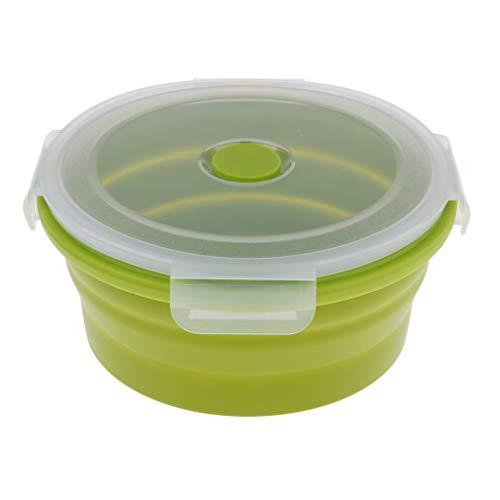 perfeclan Recipiente Plegable de Silicona para Almacenamiento de Alimentos, Caja Bento Plegable para Acampar, Cocina, para Senderismo, Mochilero, Oficina, Picni - Verde, 400 ml