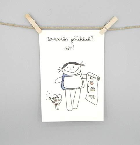 wunschlos glücklich? nö! nini san Postkarte für Gutscheine