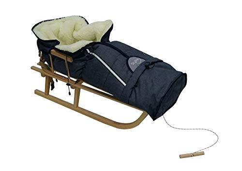 Holzschlitten für Kinder mit Rückenlehne Rodelschlitten Davoser Schlitten aus Holz mit einem Sicherheitsgurt, Rückenlehne und Winterfußsack (Natur/Dunkelblau)
