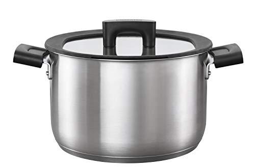 Fiskars Kasserolle mit Deckel, Ø 22 cm, Füllmenge: 5 Liter, Für alle Kochfelder geeignet, Rostfreier Stahl/Kunststoff, Hard Face, 1052241