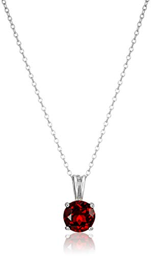 Amazon Essentials Sterling Silver Round Cut Garnet Birthstone Pendant Necklace (January), 18