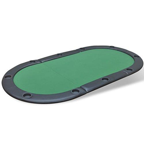 vidaXL Tablero de póker Plegable para 10 Jugadores de Color Verde Material MDF