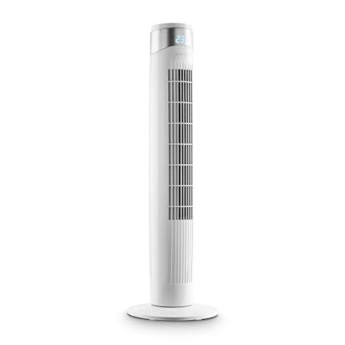 KLARSTEIN Storm Tower - Ventilatore a Torre, 55 W, Flusso: 252 m³/h Max, 3 modalità, 6 velocità, Display LED, Timer, Alloggiamento con Impugnatura, Pannello Touch, Oscillazione Fino a 80°, Bianco