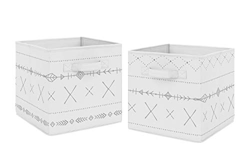 Sweet Jojo Designs Grey and White Boho Tribal Unisex Boy or Girl Foldable Fabric Storage Cube Bins Boxes Organizer Toys Kids Baby Childrens for Gray Woodland Forest Friends Collection