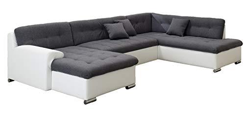 ARBD Wohnlandschaft, Couchgarnitur U-Form, Rocky mit Schlaffunktion 325 x205cm weiß/grau, Ottomane rechts