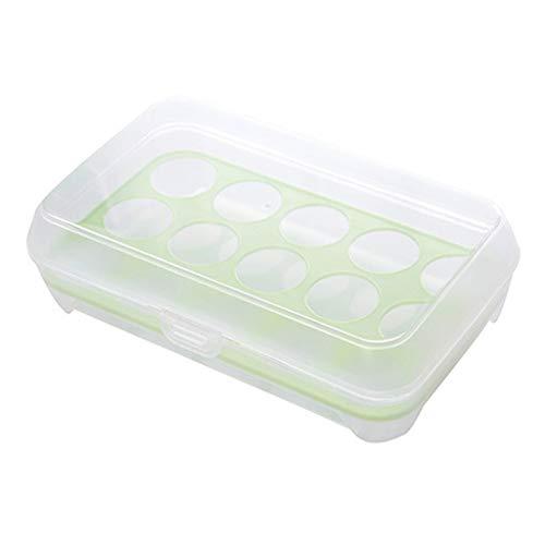 NKDD de una Sola Capa 15 Rejilla Nevera Soporte para Huevos Caja Almacenamiento ahorradores de Alimentos Bandeja de Espacio Soporte para Huevos Caja Transparente