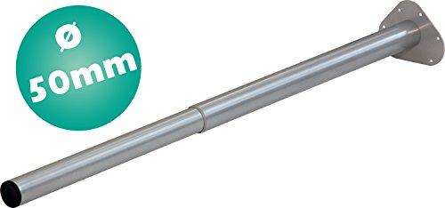 IB-Style 1 Stück Teleskopfuß Tischbein L 80-120 cm Ø 50 mm - Verstellbar, Farbe Silbermatt - kein Stellfuß - Ohne Befestigungsschrauben