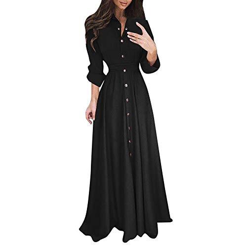 Damen Kleider Sommer V-Ausschnitt Lange Ärmel Weste Sexy Kleider Damen Strandkleid Solides Lose Baumwolle Nähte Kleid Lässig Maxi Langes Kleid Hemdkleid (EU:44, Schwarz)