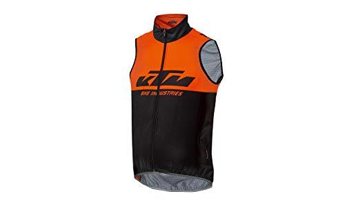 KTM Factory Team Windbreaker senza maniche XW con catarifrangente, gilet da ciclismo, senza maniche, impermeabile, traspirante, per bicicletta, nero/arancione (L)