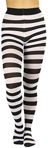 ToBeInStyle Women's Full Footed Wide Striped Tights (One Size Regular, Black And White)