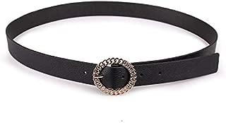 SGJFZD Women's Fashionable Chain Round Buckle Pin Buckle Hundred Matching Belts Fashion Women's Belt (Color : Black, Size : 80-100cm)