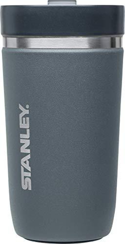 Stanley GO Ceramivac Thermo-Trinkbecher mit Keramik-Beschichtung, 0.47 L, asphaltgrau, Doppelwandig, Vakuumisoliert, Deckel verschließbar, Thermobecher Isolierbecher Kaffeebecher