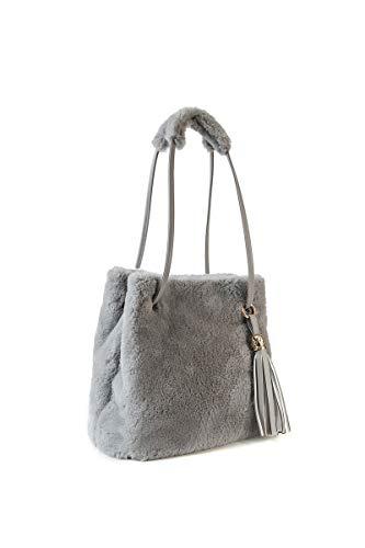 Ulisty Damen Herbst Winter Kunstpelz Schultertasche Plüsch Handtasche Flauschige Beuteltasche Quaste Umhängetasche grau