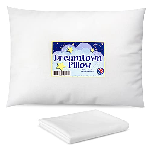 Dreamtown Kids Toddler Pillow with Pillowcase 14x19 White - Chiropractor Recommended. Made in USA. Ideal for Daycare, Baby Cribs, Toddler beds and car Rides.